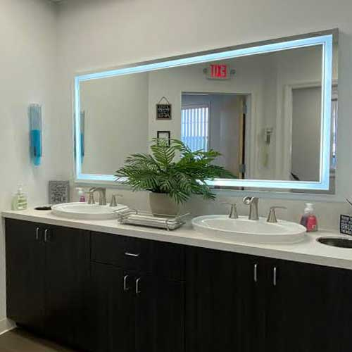 The clean and modern restrooms at North Shore Orthodontics in Smithtown NY